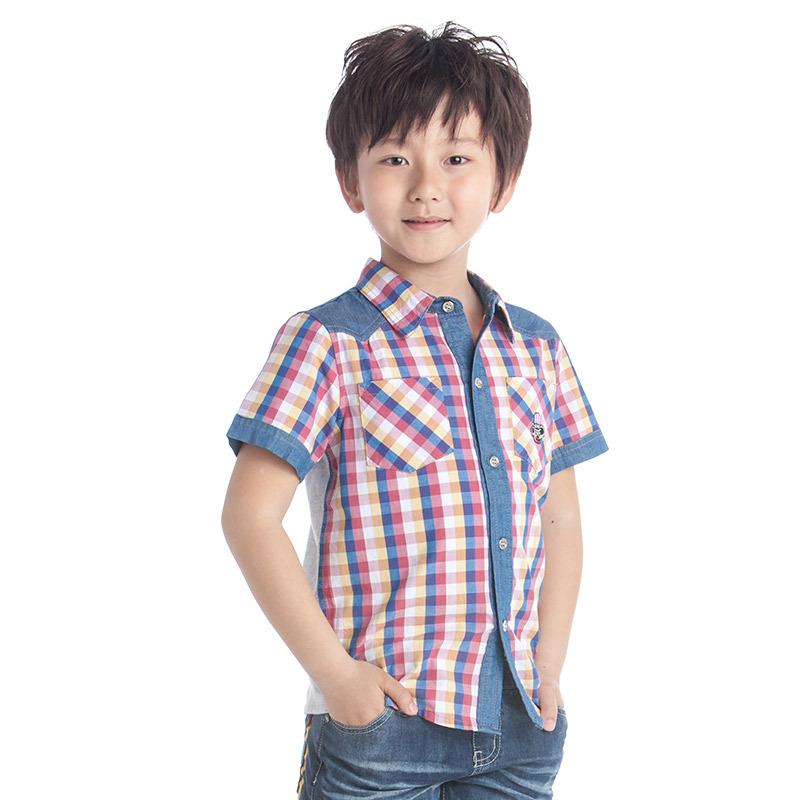 boys dress shirt short sleeve kids lattice shirts summer brand kids shirt fashion kids boys clothing kids denim shirts(China (Mainland))