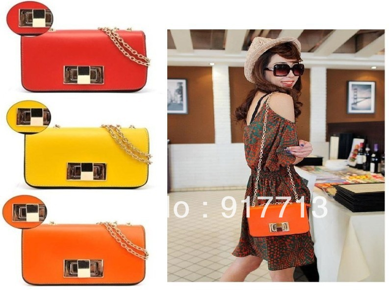 3 Colors,Fashion Lady Women Handbags chain Tote/Shoulder Faux Leather Bags Messenger Bags,Free Shipping(China (Mainland))