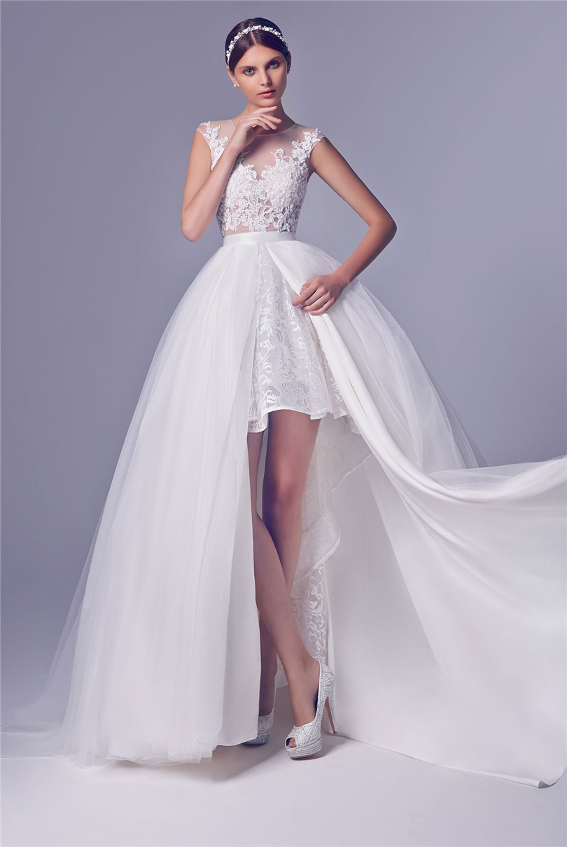 Short wedding dress with long detachable train high low for Wedding dresses short brides