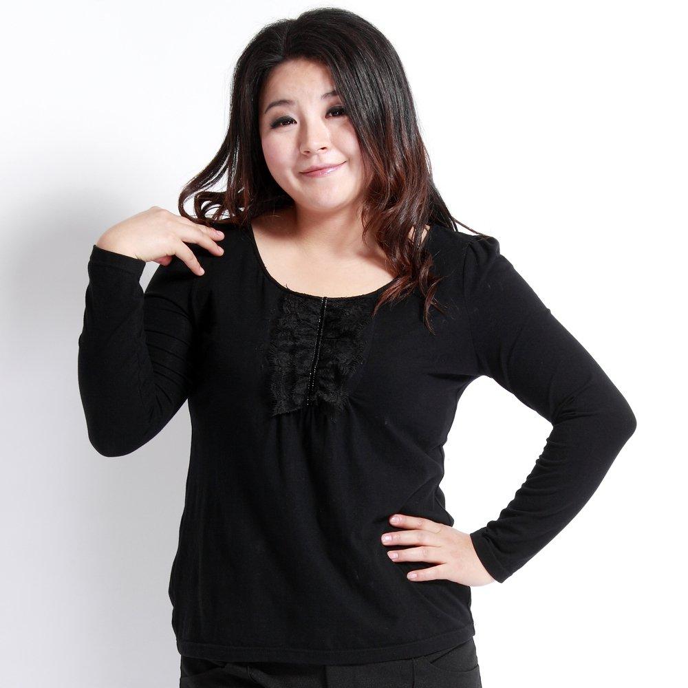 cotton spandex t shirt black plus size o neck lace collar
