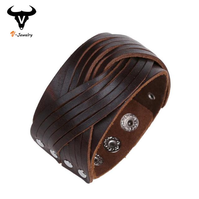 Панк браун черный яловичная упаковка браслеты браслет манжеты ручной кожа плетеный ...
