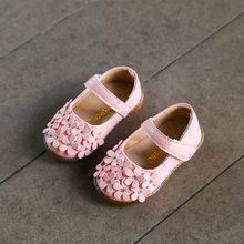 2018 סתיו חדש תינוק בנות נעלי פרח שטוח נסיכת חיצוני ילדים פעוט חתונה נעלי רך עור מפוצל ופרס 0-1 שנים(China)