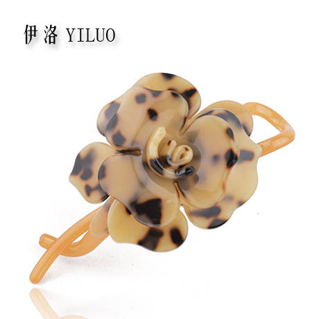 High Quality Classic Bolossom Rose Leopard Print Acetate Hair Clip 11cm Long FREE SHIPPING(China (Mainland))