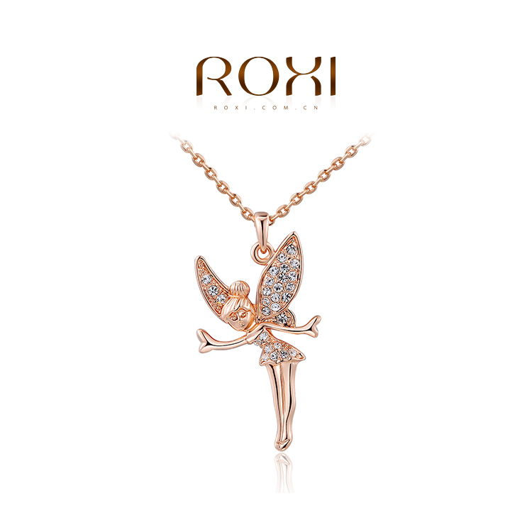 1PCS Free Shipping! Fashion Rose/White Gold Plated Austrian Crystal Lovely angel Pendant Necklace Jewelry for Women(China (Mainland))