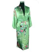 Free Shipping Green Chinese Women's Silk Rayon Robe Kimono Bath Gown Nightgown Size S M L XL XXL XXXL S0035(China (Mainland))