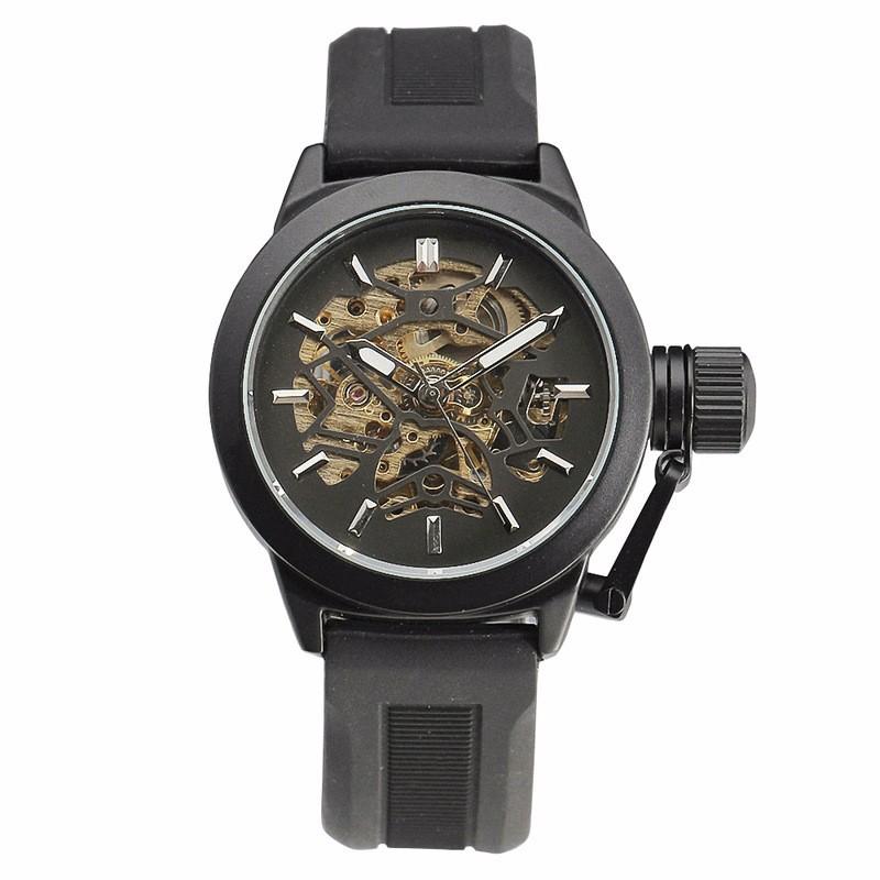 ПОБЕДИТЕЛЬ Нежный Vogue Мужская Автоматические Механические Наручные Часы черный Резиновый Ремень Точность Прочный Вт/Box
