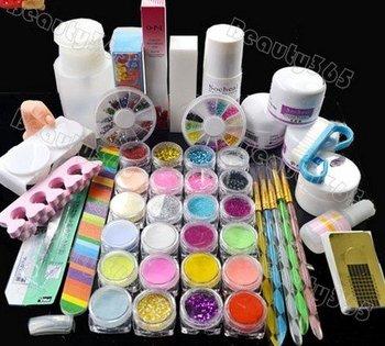 HOT Sales Korea,new 2012 stylish Nail Art Kit Set Acrylic powder liquid primer UV dust stickers brush ,free shipping
