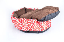 Free Shipping 2 in 1 Cute Polka-Dot Kennel Winter Warm Doggy Cat Pet Bed Mascotas House Puppy Cushion Animal chihuahua yorkshire