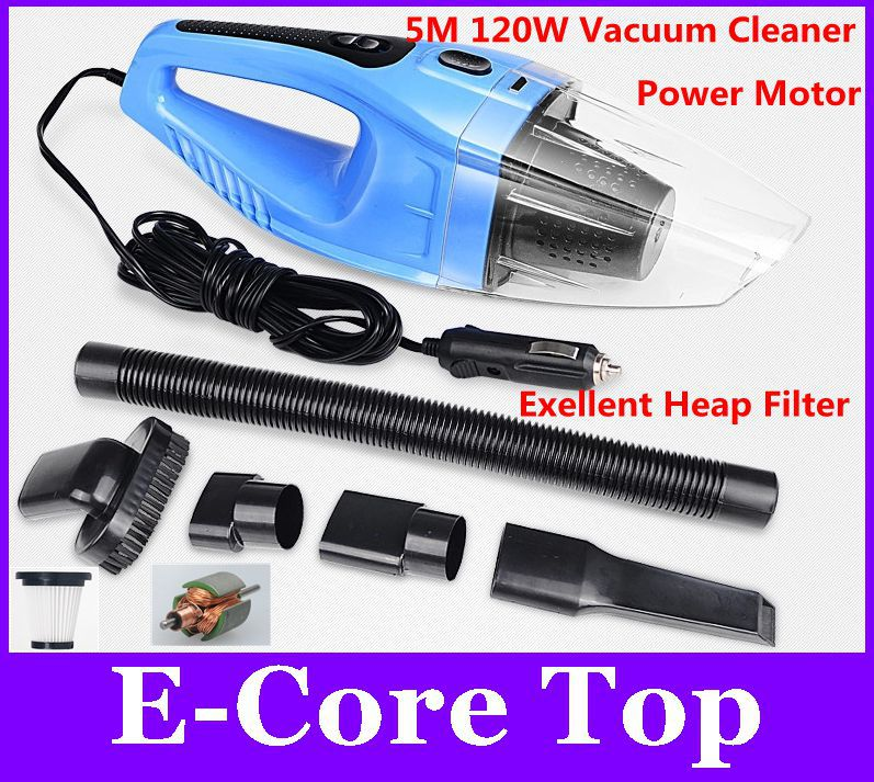 Powerful Car Vacuum Cleaner Dust Collector 120W Handheld Powerful Suction 12V 2500~4000Pa Vacuum Degree 3Colors Optional(China (Mainland))