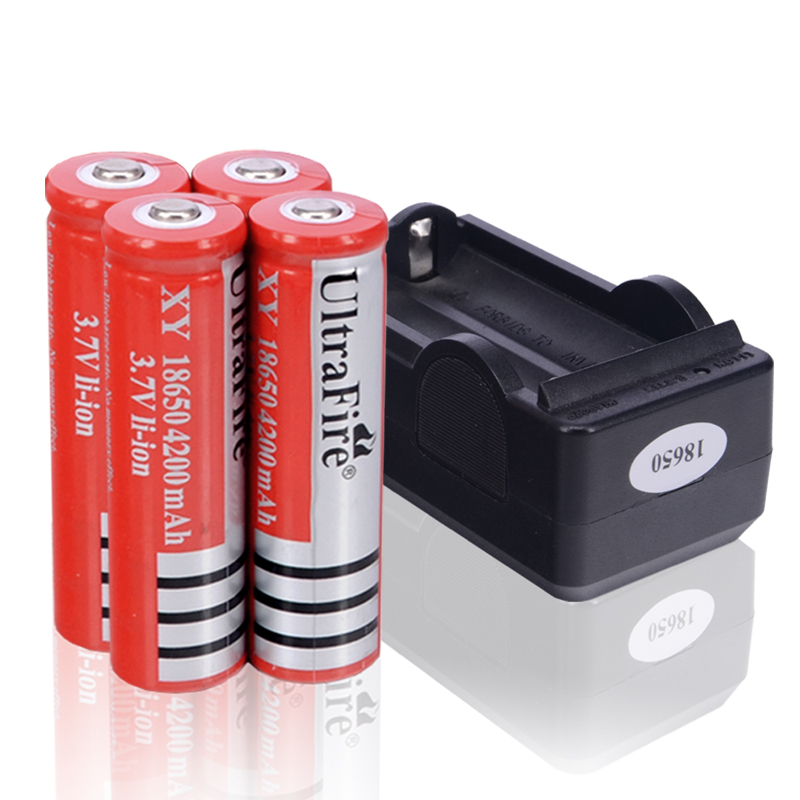 4pcs lot flashlight battery lithium 3 7 volt 4200mah 18650. Black Bedroom Furniture Sets. Home Design Ideas