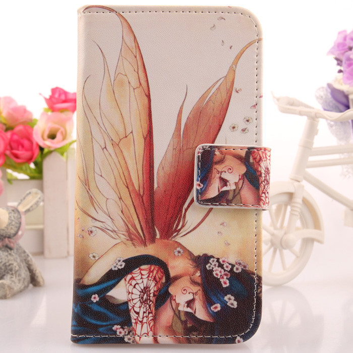 Flip PU Leather Protection Case Book cover Cute Cartoon Cell phone Pouch Card Holder &magnetic Clasp prtect Cover For DNS S5001(China (Mainland))