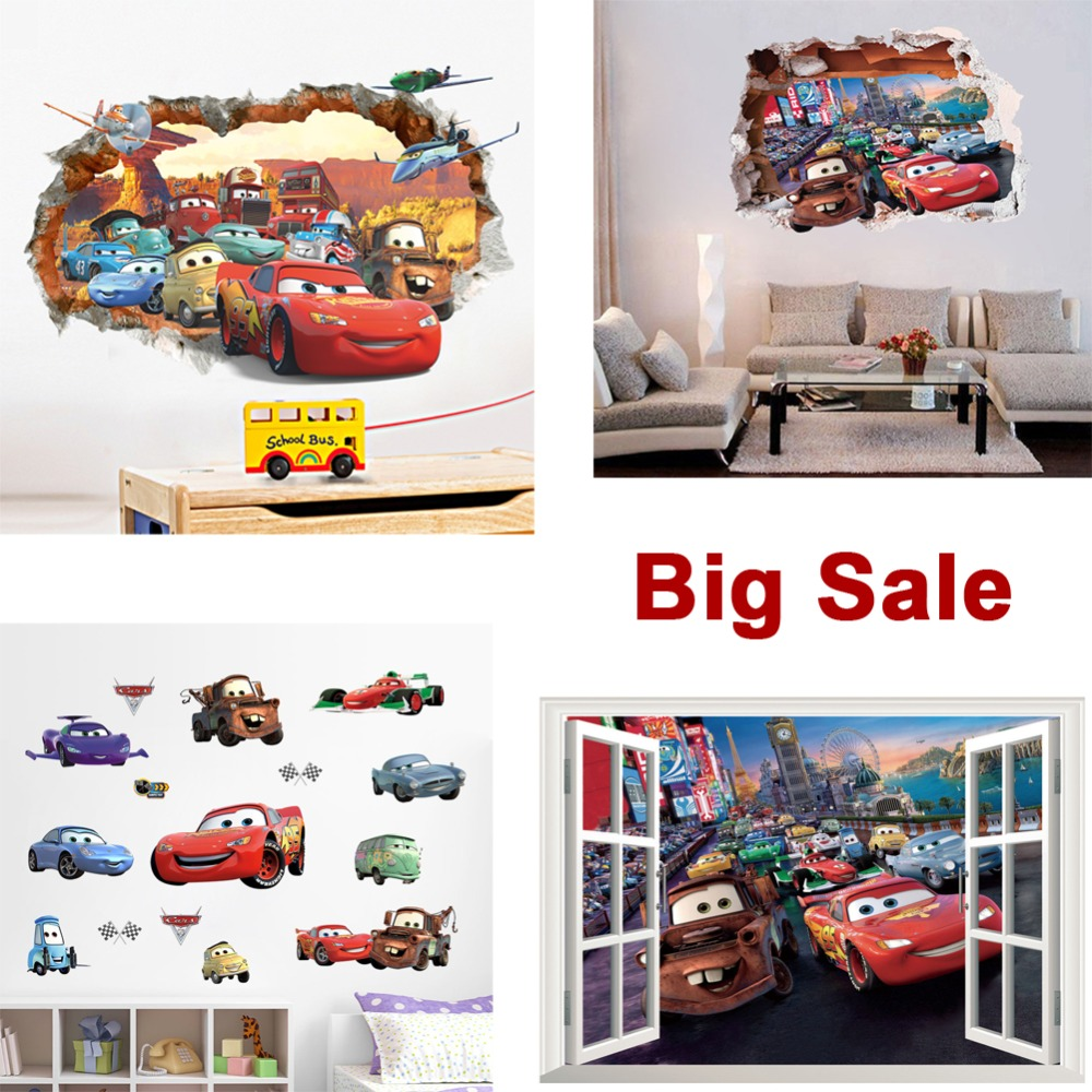 3D Cartoon Pixar Cars art posters Wall Stickers,Pixar Cars Mater wall stickers For Kids Room Decor Poster Stickers Free shipping(China (Mainland))