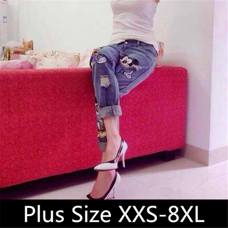 2015 New Roll Up Hem Pants Women Ripped Mickey Retro Hole Lovely Skinny Jeans Sweet Pant Leisure Trousers 25-34 Plus Size XXXL L(China (Mainland))