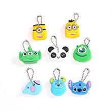Car StylingHigh quality free shipping Kawaii Cartoon Animal Silicone Key Caps Covers Keys Keychain Case Shell Novelty Item KCS(China (Mainland))