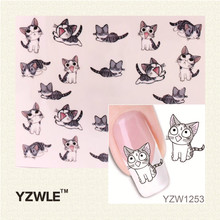 YZWLE 1 Sheet Nail Art Water Transfer Sticker Decals Cute Cats New Stickers Decorations Watermark Tools for Polish(China (Mainland))