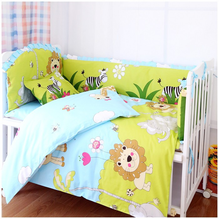 Фотография Promotion! 7pcs Lion Bedclothes For Baby Cribs And Cots Baby Boy Bedding Set  On Sale(4bumper+duvet+matress+pillow)