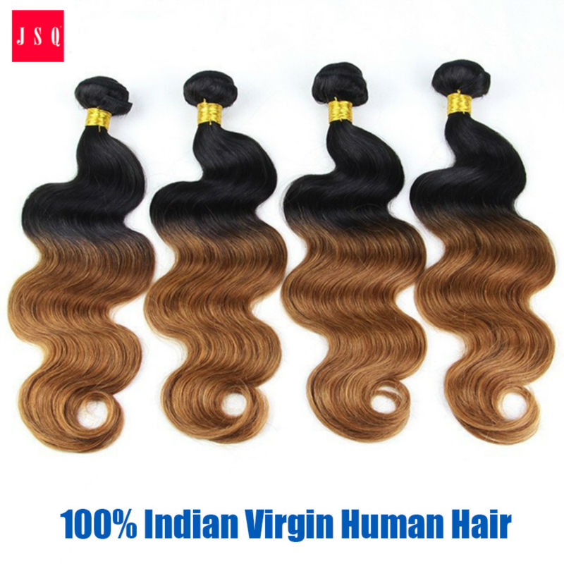 JSQ 3 Bundles Per Pack 1B 30 1b30 Black Light Brown Body Wave Ombre Hair Weft  Weaving Indian Humanss Hair Free Shipping Post<br><br>Aliexpress