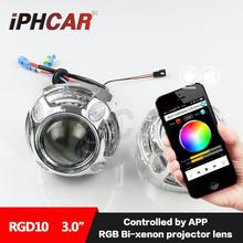 Free Shipping IPHCAR Colorful Headlight LED Angel Eyes RGB Color Changing by Mobile Phone HL H1 3.0 Hid Projector Lens(China (Mainland))