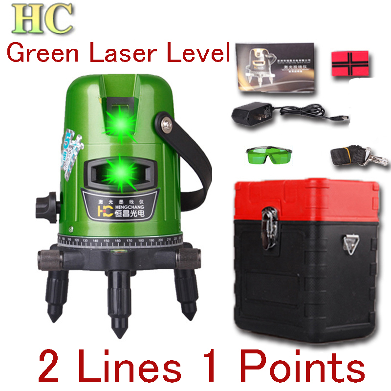 Hc Green Light Laser Level 2 Line 1 Point 360 Degree Rotary Lazer Line Cross Slash Levels Shockproof Anti-throw Nivel Laser(China (Mainland))