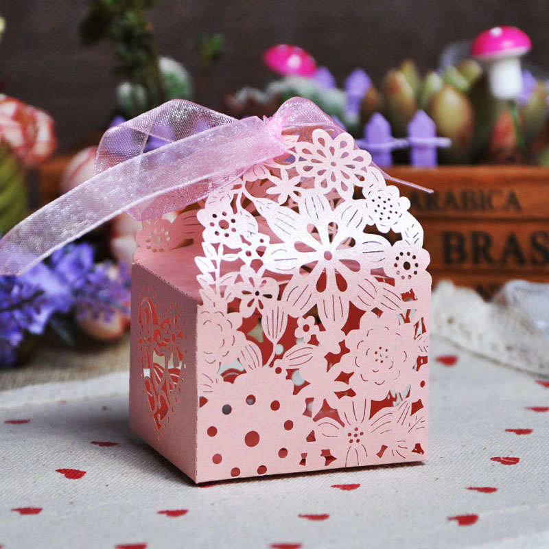 TH 20pcs Wedding Party Flower Candy Box Favor Gifts Boxes With Ribbon Birthday Events Baby Shower Decoration Supplies Goodie Bag(China (Mainland))