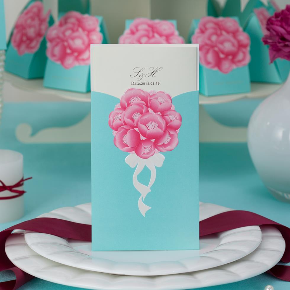- 50Sets Personalized Floral Wrap & Pocket Wedding Invitations Roses Garden Theme Wedding, Envelopes Seals.Free Print Supplies Shop store