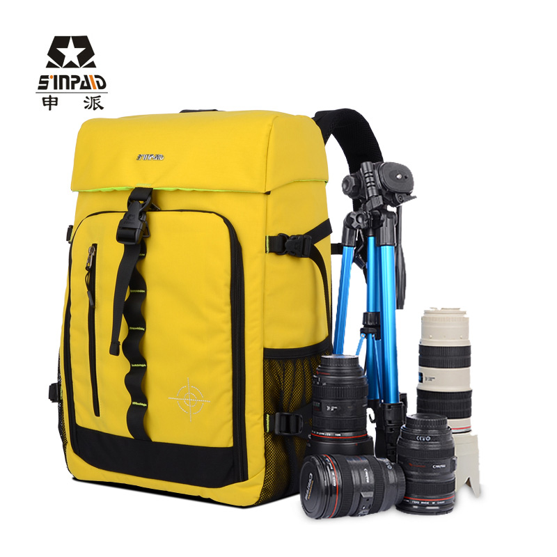 Trekker DSLR Camera Bag Photo Shoulder Bag Nylon Backpack Bag Yellow Photo Camera Bag Double-shoulder Backpack(China (Mainland))