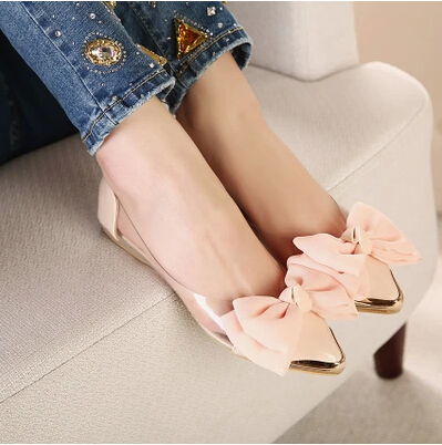 2014 new spring summersweet women flats,pointed sequined toe with big bowtie shoes for women,cansual shoes free shipping XWD670(China (Mainland))