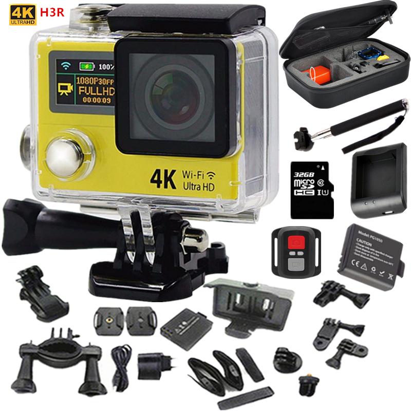 "Action Camera Original H3R Ultra 4K HD 2.0"" Dual Screen Action video Camera Waterproof 170D Lens go pro Style sport camera+extra(China (Mainland))"