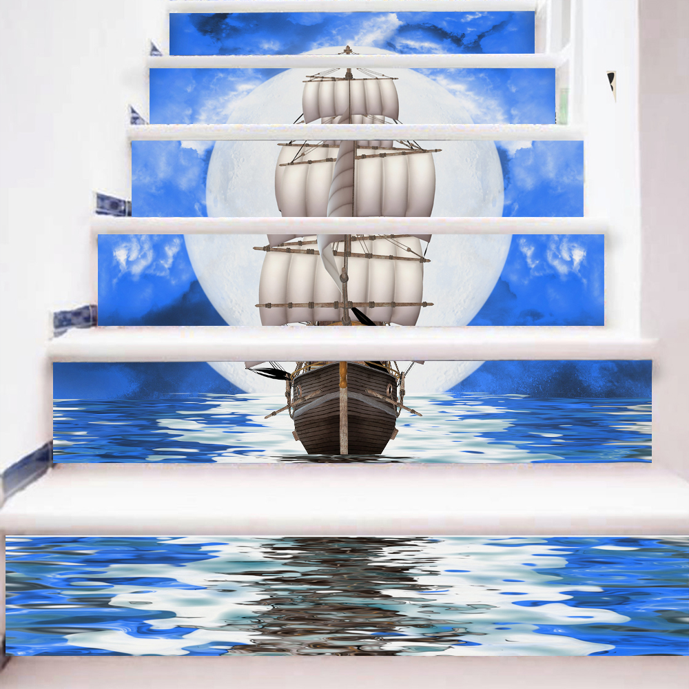 6 Pieces/Set Creative DIY 3D Stairway Stickers Moonlight Sea Ship Pattern for Room Stairs Decoration Floor Decals Wall Sticker(China (Mainland))