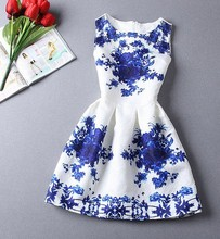 Hot selling new fashion 2015 summer style print dress, women sleeveless party dresses(China (Mainland))