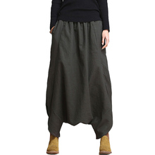 SERENELY 2016 Linen Casual Pants Personality Loose Harem Pants Plus Size Solid Elastic Waist Women's Pants Trousers for Women(China (Mainland))