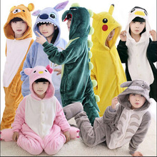 Children Kids Flannel Animal Pajamas Anime Cartoon Costumes Sleepwear Cosplay Onesie pink green dinosaur free shipping