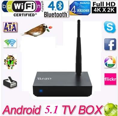 2015 Newest! Android 5.1 TV Box RK3368 Octa-core Wifi H.265 4K 1GB/8GB XBMC TV Receiver Smart tv Media Player BT4.0 WCDMA EVDO(China (Mainland))