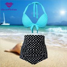 USA HOT Bikinis sets Retro Plus Size S-XXXL Halter Blue Padded Bra&White Polka High Waist Bottom Sexy Swimsuits Vibrant Vintage