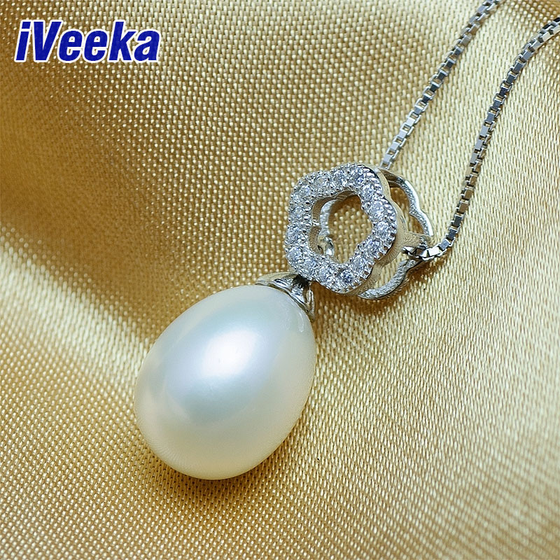 "iVeeka New Design Water Drop Freshwater Pearl Pendant Necklaces with 16"" 925 Sterling Silver Necklace Chain(China (Mainland))"