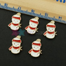 10pcs/lot Christmas White Snowman Red Scarf Design Gold Plated Back Alloy Charms Decorations Nail Art Jewelry Manicure Supplies(China (Mainland))