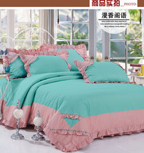 100% cotton four piece set rustic 100% cotton princess double bedding bed sheet duvet cover 4(China (Mainland))