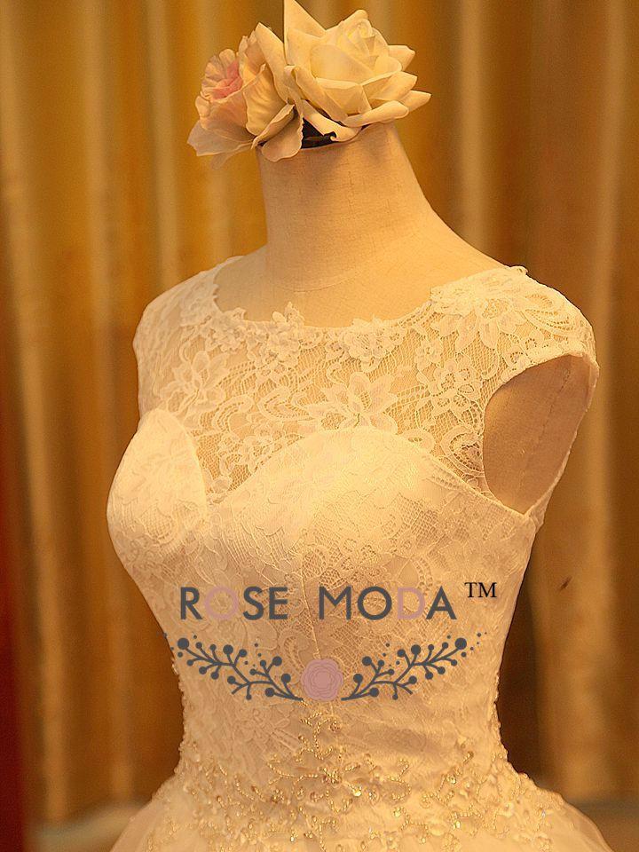 Элегантный принцесса линия свадебное платье с замочная скважина вернуться иллюзия кружева милая декольте Жилетidos Noiva реальные фото