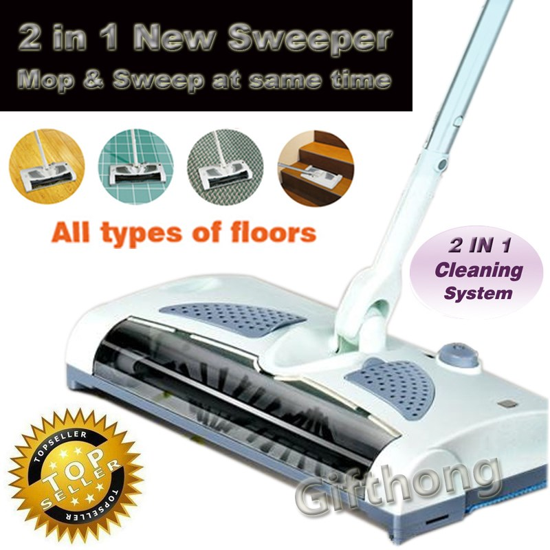 NEW 2 in 1 Cordless Electric Sweeper And Mop Rechargeable Battery Rotary Rod 360 Degree For Carpet Floor Tiles Hard Wood(China (Mainland))