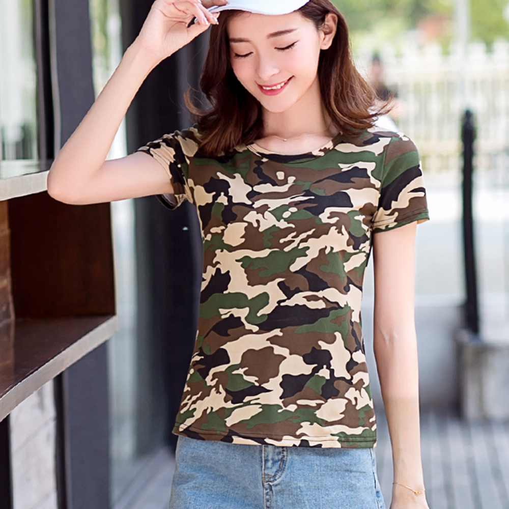Women Fashion Clothes Women 2016 Ladies Summer Tops Round Neck Rolled Short Sleeve Casual Camouflage T-shirt TS018(China (Mainland))