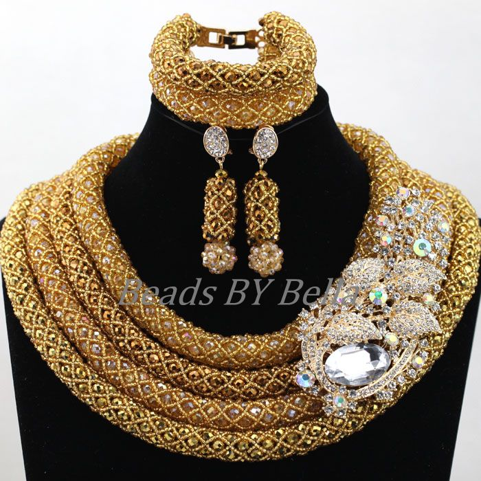 Chunky Full Beads Gold Seed Beads Coffee Crystal African Wedding Jewelry Sets Bridal Statement Necklace Free Shipping ABL016<br>