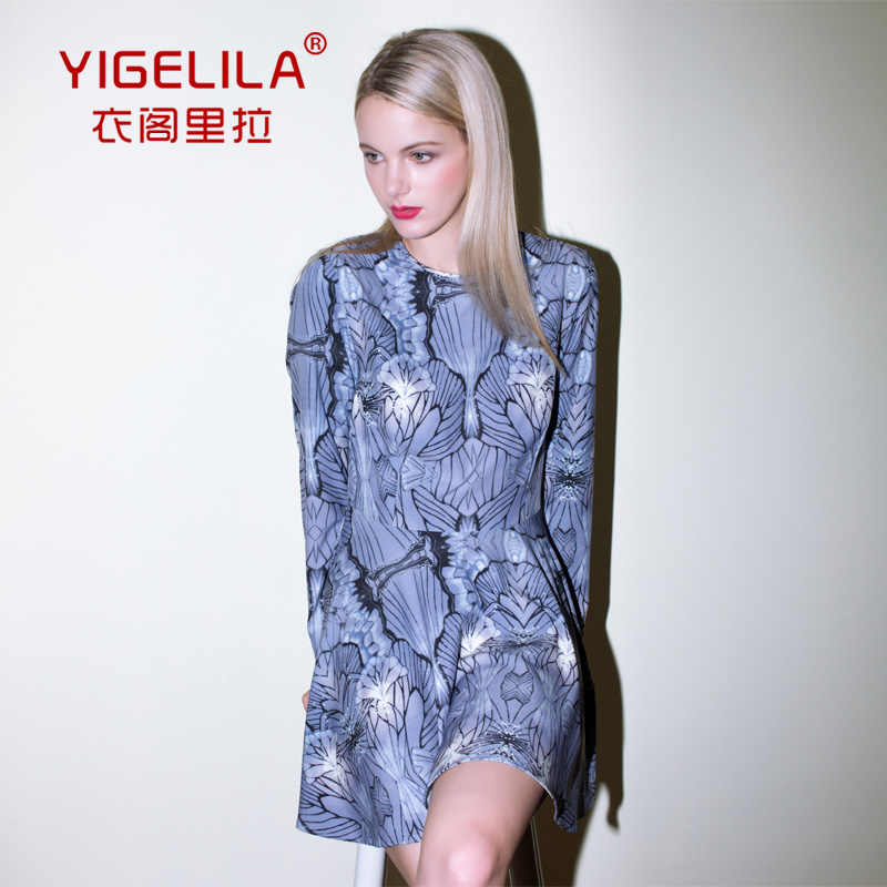 YIGELILA Europe and the major suit of autumn and winter long sleeved print dress slim slim - pleated