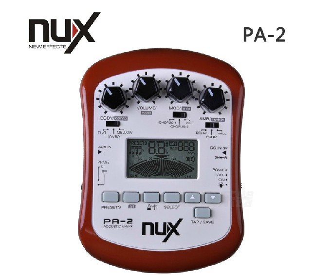 Brown NUX PA-2 Acoustic Guitar Effect Multifunctional Portable Guitar Parts Accessories 18 Types of Preset Two Tuning Modes<br><br>Aliexpress