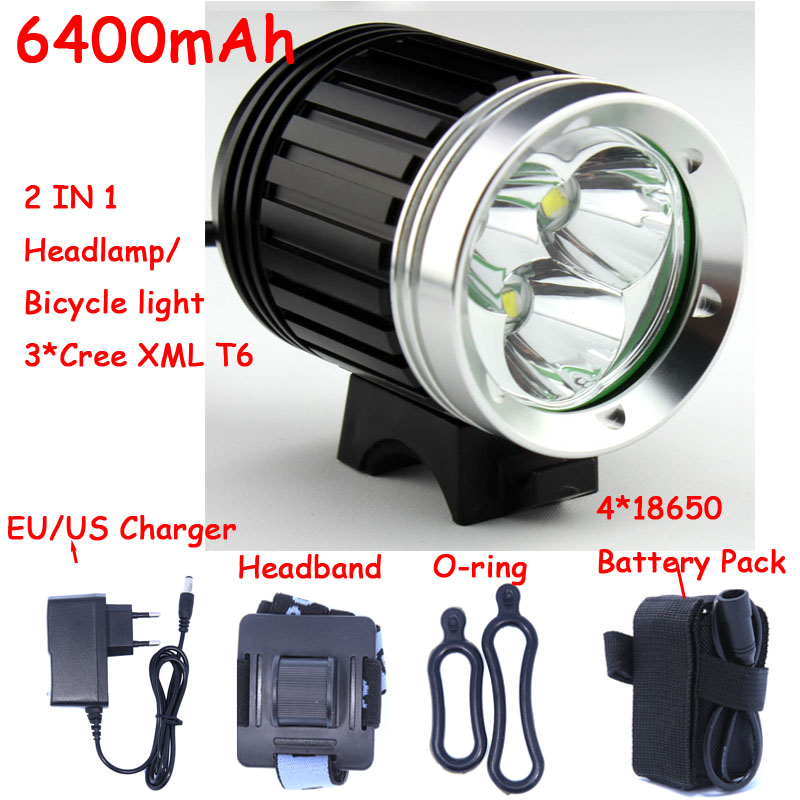 4000 Lumens 3x CREE XM-L T6 LED Headlight 3T6 Headlamp Bicycle Bike Light Waterproof Flashlight+Battery Pack Free Shipping(China (Mainland))