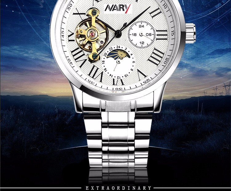 Nary Hollow Watches Men Fashion Business Leather Wristwatch Waterproof Mechanical Hand Wind Watch Relogio W0815