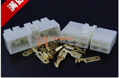 10 set 6.3mm connector 10P 10 pin Electrical 6.3 Connector Kits Male Female socket plug for Motorcycle Car(China (Mainland))
