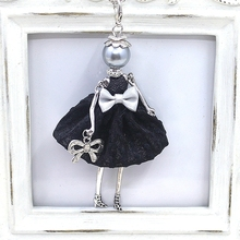 Hot Sale!! Cute Yarn Cloth Bowknot Dress Dancing Doll Necklace Beads Face Women Jewelry stores Christmas Gifts Jewelry