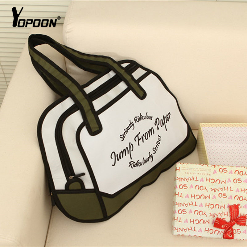 Funny 3D Picture Fashion Jump Style 2D Drawing From Cartoon Shoulder Bags Sling Bags Paper Bag Comic 3D Messenger Bag(China (Mainland))