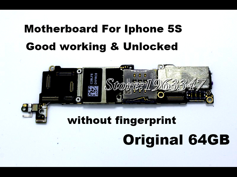 Unlocked Original Motherboard For Iphone 5S,Without fingerprint 64GB 100% working EU version Mainboard With Chips Logic Board