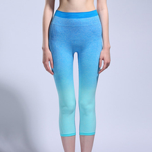 New Gym Yoga Seven Pants Gradient Seamless High Elastic Pants Running Sportwear Suit Female Fitness Clothing C055BB